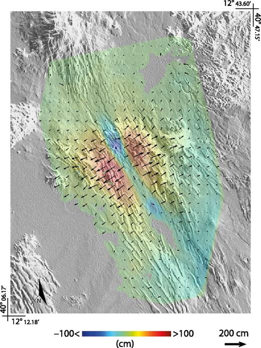 Cumulated (A.D. 2006–2010) three-dimensional displacement map of the Afar depression, Ethiopia, obtained by combining the ascending and descending pixel offset–small baseline subset (PO-SBAS) results over common areas. The color map represents the vertical displacements, while vector arrows (scaled) are relevant to the horizontal displacements.