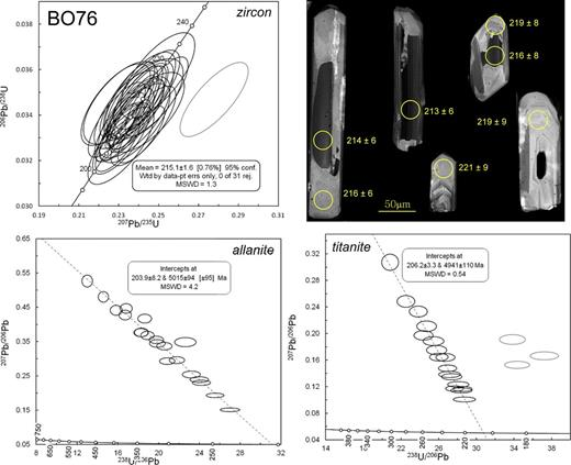 Concordia (zircon) and Tera-Wasserburg (allanite and titanite) plots for samples BO-76, and representative cathodoluminescence (right) images of zircons with analyses shown. Gray ellipse (zircon) comprises a common lead component. Gray ellipses (titanite) are excluded from age calculation, and are disturbed due to a younger event or minor open-system behavior. Abbreviations: rej—rejected; conf.—confidence; Wtd—weighted; pt—point; errs—errors; MSWD—mean square of weighted deviates.