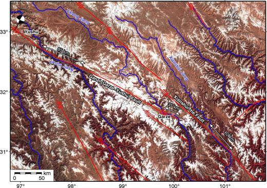 Landsat map of the Gerze-Yushu fault and Xianshui-he fault showing offset courses of the Jinsha and upper Yangtze Rivers. Offsets estimated from pinning points of valleys could vary by as much as 5 km.
