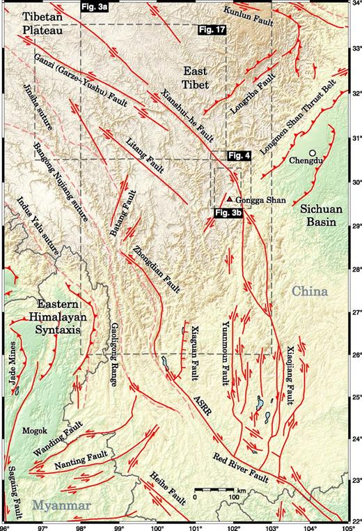 Fault map of the eastern Tibetan Plateau showing the major strike-slip faults (after Taylor and Yin, 2009), including the left-lateral Xianshsui-he fault and the location of the Gongga Shan granite batholith. ASRR—Ailao Shan–Red River.
