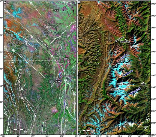 (A) Landsat-7 mosaic satellite image of eastern Tibet with major faults overlaid. (B) Enlarged Landsat-7 satellite image of the Gongga Shan batholith. The three main transects studied, the Kangding road section, the Yanzigou valley north of Gongga Shan, and the Hailuogou valley west of Moxi, leading up to Gongga Shan peak (7556 m), are shown.