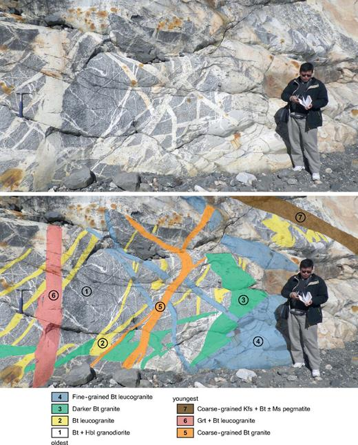At least seven phases of crosscutting granites in one outcrop along the Yanzigou valley, in general with earlier diorite-granodiorite phases cut by increasing more leucocratic granites. Hbl—hornblende; Bt—biotite; Kfs—K-feldspar; Ms—muscovite; Grt—garnet.