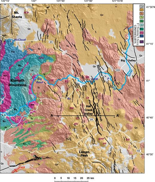 Geologic map of the study area (modified from Jennings et al., 2010) superposed on shaded-relief topography. A–A′—location of profile modeled in Figure 7. Qs—Quaternary sediments; Qv—Quaternary volcanic rocks; Tv—Neogene volcanic rocks; Ts—Paleogene and Neogene sedimentary rocks; Ks—Cretaceous sedimentary rocks; Js—Jurassic sedimentary rocks; TRs—Triassic sedimentary rocks; mv—Mesozoic metavolcanic and intrusive rocks; Pzs—undifferentiated Paleozoic rocks (note Js, TRs, mv, and Pzs are part of the Redding subterrane); oph—Ordovician ophiolite (Trinity subterrane). White lines—major highways; black lines—Quaternary faults (U.S. Geological Survey and California Geological Survey, 2006); heavier black lines—Hat Creek fault. ACB—Ash Creek Butte; BB—Bogard Buttes; BM—Burney Mountain; Br—Brush Mountain; BS—Burney Springs Mountain; CM—Chalk Mountain; CB—Cinder Butte; FP—Freaner Peak; GPA—Grizzly Peak anticline; SM—Saddle Mountain; ICF—Inks Creek fold belt; MV—Magee volcano; PP—Prospect Peak; WPP—West Prospect Peak. Towns: Bu—Burney; FRM—Fall River Mills; P—Pittville.