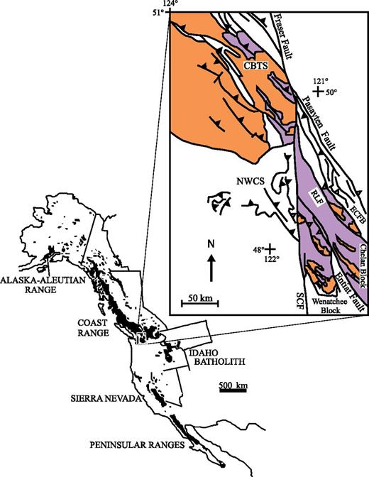 Generalized map of Mesozoic and Paleogene western North American Cordilleran arc plutons and metamorphic core complexes. Inset emphasizes distribution of metamorphic rocks (purple) and plutons (orange) in the Cascades core and southern Coast belt. The Coast belt thrust system (CBTS), eastern Cascades fold belt (ECFB), northwest Cascades thrust system (NWCS), and reverse shear zones in the Cascades core are also shown. The dextral Straight Creek–Fraser fault (SCF) displaces the Cascades core from the main part of the Coast belt. The Entiat fault, Pasayten fault, and Ross Lake fault zone (RLF) are also major high-angle faults. The Cascades core is divided by the Entiat fault into the Chelan and Wenatchee blocks, which have different thermal histories.