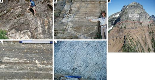 Field photographs of Skagit Gneiss. (A) Upright open fold of leucosome and foliation in a Skagit migmatite. Leucosomes in this outcrop have crystallization ages ranging from 69 to 63 Ma (Gordon et al., 2010a). (B) Strong stretching in face that is subparallel to fold hinge line and mineral lineation. (C) Plagioclase porphyroclasts in foliation-parallel shear zone in mylonitic paragneiss. (D) Discordant shear zone cutting foliation in orthogneiss. Note the fine-grained, weakly deformed intrusive material in the shear zone. (E) Low-angle extensional fault in stepover in the Ross Lake fault. Cretaceous metaclastic and plutonic rocks structurally overlie metasedimentary and metavolcanic rocks of the Napeequa unit, which in turn is structurally above the Skagit orthogneiss (lowest exposure). Relief from saddle in foreground to summit of peak is ∼400 m.