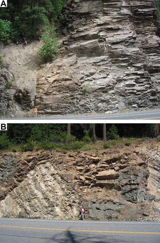Photographs of Eocene Teanaway dikes. (A) Example of a very thick Teanaway dike (note person for scale). (B) Two Teanaway dikes cutting bedded Swauk Formation.