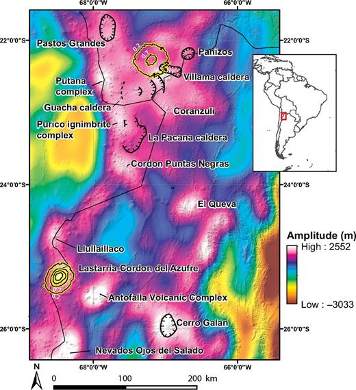 "Overview map of the Central Andes showing some of the modern surface displacement anomalies (black highlighted with yellow contours), caldera locations (black hatched lines), and long-wavelength topography over a hillshade of the region. High-amplitude, long-wavelength anomalies tend to occur either at caldera locations or large volcanic complexes within the Central Andes. The uplift at Lastarria-Cordon del Azufre (""Lazufre"") coincides with a long-wavelength dome; however, the uplift at Uturuncu appears at a relative low (Fig. 2)."