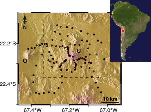 Magnetotelluric (MT) sites around Volcán Uturuncu used in the three-dimensional (3-D) inversion. Red circles are the 73 MT sites used in the 3-D inversion by Comeau et al. (2015); blue and red circles are the 96 MT sites used in this paper. The dashed gray box shows the extent of the resistivity model of Comeau et al. (2015). Inset map shows the study area location in southern Bolivia. U—Volcán Uturuncu; Q—Volcán Quetena.