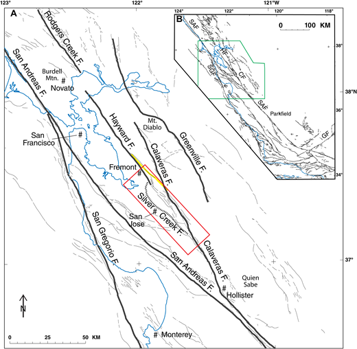 (A) Map showing the San Andreas fault system in the greater San Francisco Bay region (California, USA) (after Jennings, 1994). Major Holocene active faults are labeled thick gray lines. Red line shows the area of Figures 2, 3, and 6. Yellow line is the Mission seismic trend. (B) Map showing the San Andreas fault system between the Transverse Ranges and Point Arena, where it passes out to sea, and area of A (green line). SAF—San Andreas fault; HF—Hayward fault; SGF—San Gregorio fault; CF—Calaveras fault; GF—Garlock fault.