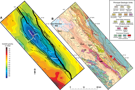 Gravity anomaly maps over the eastern Santa Clara Valley (California, USA). (A) Isostatic residual gravity anomaly shown as color bands with a contour interval of 2 mGal. Thick black lines are major faults from geologic maps and geophysical inference (see text). Thin black lines are other faults from Graymer et al. (2006). Yellow lines show the location of seismic reflection profiles (Williams et al., 2006; Wentworth et al., 2010); line labeled a-a′ is shown in Figure 5. White dashed line shows the minimum southwest extent of denser flaps of Mesozoic and/or Cenozoic rock. (B) Isostatic residual gravity anomaly contours (red lines) on geology after Graymer et al. (1996) and Wentworth et al. (1998). Contour interval is 2 mGal. Note the deep gravity low between the Silver Creek fault and the Hayward and Calaveras faults, variously over Quaternary alluvium, Tertiary rocks, and Mesozoic rocks at the surface. CCOC—Coyote Creek Outdoor Classroom drill hole; CH—Communication Hill; EVGR—Evergreen drill hole; GUAD—Guadalupe River drill hole; MOFT—Moffett Field drill hole (Beyer, 1980); YBR—Yerba Buena Ridge. Locations of drill holes are from Newhouse et al. (2004) unless otherwise noted.