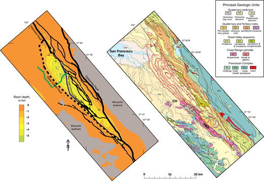 Subsurface configuration of the Evergreen basin (Santa Clara Valley, California, USA), inferred from constrained inversion of the gravity data. (A) Modeled depth to Mesozoic bedrock shown as color bands with contour interval of 1 km. Heavy black lines are major strike-slip faults; thin black lines, other faults. Major faults are from geologic maps and geophysical inference (see text). Green lines show location of seismic-reflection profiles (Williams et al., 2006; Wentworth et al., 2010). (B) Depth to Mesozoic bedrock shown as contours on geology (red lines, contour interval 1 km). CH—Communication Hill; YBR—Yerba Buena Ridge.