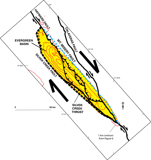 Schematic map view of the Evergreen basin (yellow) and vicinity (Santa Clara Valley, California, USA), showing important bounding faults and other thrust faults. Mount Misery fault, shown in blue, is completely concealed.