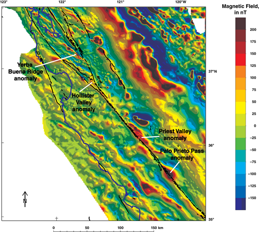 Shaded-relief aeromagnetic map of central California, USA (modified from Roberts and Jachens, 1999) showing the magnetic anomalies associated with the Priest Valley and Palo Prieto Pass ophiolites and their cross-fault counterparts, the Yerba Buena Ridge and Hollister Valley ophiolites. Warm colors indicate magnetic highs; cool colors indicate magnetic lows. Note that the Yerba Buena Ridge and Hollister Valley anomalies are generally lower in amplitude than their cross-fault counterparts, likely the result of the post-separation uplift and erosion of the Yerba Buena Ridge and Hollister Valley ophiolites, as discussed in text.