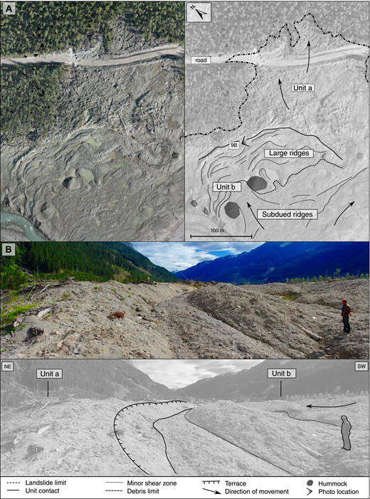 (A) Orthophoto of the distal part of the Mount Meager landslide deposit upstream of the unaffected Forest Service campsite (area 4), showing units a and b. Location of B is shown. (B) Partially buried terrace scarp showing the boundary between units a and b.