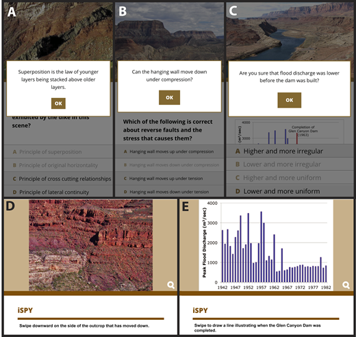 Example screens illustrating features of the augmented reality field trip modules. (A–C) Feedback on incorrect responses for locations in the geologic time, geologic structures, and hydrologic processes modules, respectively. (D–E) Touchscreen activities from the geologic structures and hydrologic processes modules, respectively.