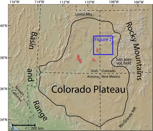 Digital elevation model of the Colorado Plateau and surrounding tectonic provinces. The blue square shows the field area. Red shading marks the laccolith complexes found within the plateau. Mts.—mountains; vol.—volcanic.
