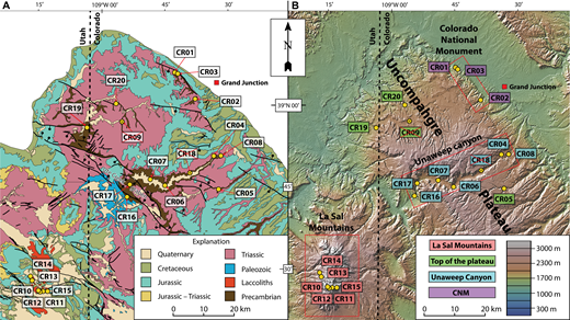 (A) Simplified geological map of the field area, based on Williams (1964) and Cashion (1973). (B) Topography of the field area, showing sample locations and geographical groups. Crossed-out samples did not yield enough apatite for apatite fission track (AFT) analysis. CNM—Colorado National Monument.