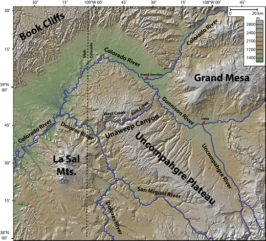 Topographic map of the Uncompahgre Plateau and the surrounding sedimentary and volcanic features (Book Cliffs, Grand Mesa, and La Sal Mountains), illustrating the area drainage pattern. Mts.—mountains.