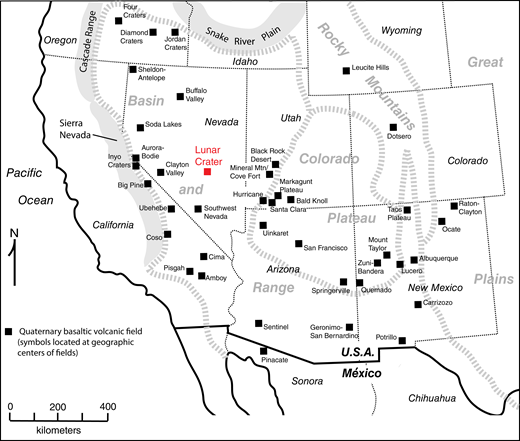 Simplified map of the southwestern United States showing locations and names of intraplate volcanic fields that have been active during the Quaternary. Not included are arc-related (Cascade Range) fields or those related to the Yellowstone hotspot track (Snake River Plain). Lunar Crater volcanic field is highlighted in red. Dashed lines outline geographic provinces that host the volcanic fields (Basin and Range, Colorado Plateau, Rocky Mountains, and Great Plains).