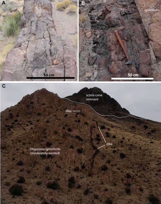 Feeder dike in northeastern Reveille Range. (A) The lowest and southernmost exposure is an ∼70-cm-wide, tabular body rising above alluvium (38°03′33.3″N, 116°07′42.2″W, 1773 m altitude). (B) Close-up of dike intruding older ignimbrite (38°03′47.1″N, 116°07′37.5″W, 1839 m altitude). In both A and B the partings and banding are due to paired symmetric bands with different vesicularities and vesicle textures. (C) View northward at the extension of the dike intruding older ignimbrites (tan color) and episode 1 scoria cone remnant (dark outcrops at top of hillside, dotted line along contact). Note that the scoria cone erupted on the top of a steep hill carved into the Oligocene ignimbrite, and its lavas flowed down a paleoslope toward the right of the photograph that was similar to the modern slope. Vertical relief in the photo is ∼150 m.