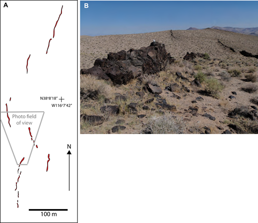 Feeder dike system in northern foothills of the Reveille Range. (A) Detailed map of dike set (red) illustrating en echelon character. Dike widths are typically several decimeters but are ∼2 m at the widest locations. The dike system is hosted by volcaniclastic deposits. (B) Photograph showing parts of three en echelon segments (see field of view in A). Bushes in foreground are ∼30 cm in diameter.