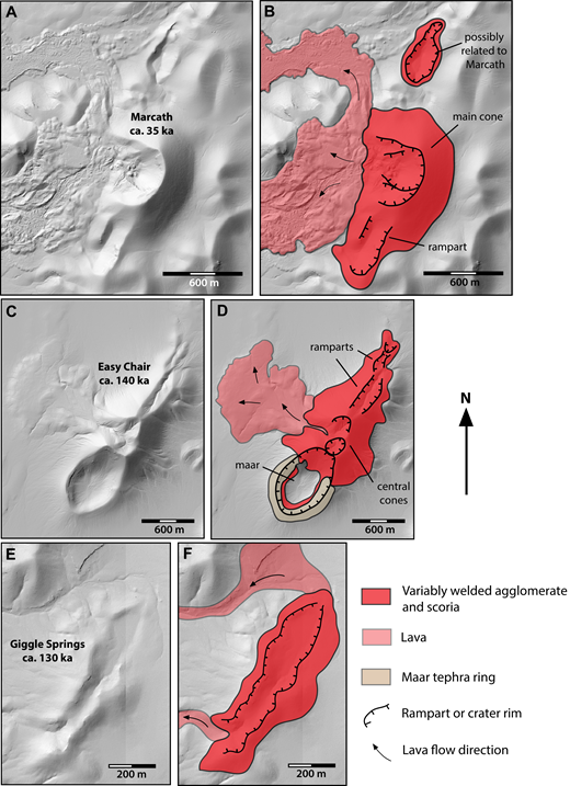 Examples of agglomerate ramparts (see Table 3 for coordinates). (A) Shaded relief map of the Marcath center, which began erupting along an ∼850-m-long fissure system (neglecting the isolated rampart to the north, which may or may not be related to the same eruptive event), building a rampart. Eruptive activity eventually focused at the northern end, building the prominent Marcath cone. (B) Eruptive products map of the Marcath center. (C) Shaded relief map of the Easy Chair volcano. (D) Eruptive products map of the Easy Chair volcano. Eruptive activity here began along an ∼2500-m-long system of en echelon fissures, building agglomerate ramparts. Activity later focused toward the center of the fissure system, building two high coalesced cones and feeding the small lava field. Phreatomagmatic explosions disrupted the southern part of the fissure system, forming a maar crater. (E) Shaded relief map of the Giggle Springs center. (F) Eruptive products map of the Giggle Springs center. Here, lavas flowed out of the two ends of the eruptive fissure system. Note different scales for each pair of maps.