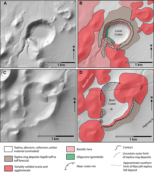 Lunar Crater and Bea's Crater maars (Easy Chair maar is in Figures 19C and 19D). (A) Shaded relief map of Lunar Crater maar. (B) Simple geologic map of Lunar Crater maar showing distribution of tephra ring deposits (distal edge uncertain in most locations). The crater cuts into underlying episode 2 and 4 lavas and older ignimbrite, and into a scoria cone on its southern wall. Dikes (not shown) are exposed in the latter. Coordinates of crater center: 38°23′03″N, 116°04′08″W. (C) Shaded relief map of Bea's Crater. (D) Simple geologic map of Bea's Crater. This is a compound maar with a smaller crater overlapping larger crater to the northeast. The crater cuts previous cone and agglomerate rampart deposits, but the cone that overlaps the northeast quadrant of the crater apparently partially rebuilt itself, forming a rim of agglomerate deposits that extends into the maar crater. Based upon Amin (2013). Coordinates of crater center: 38°28′43″N, 115°57′57″W.