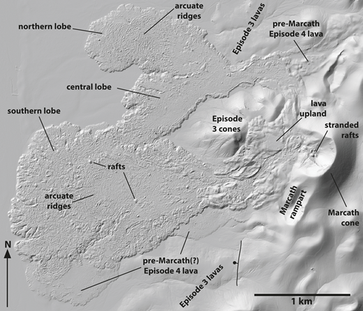 Shaded relief map of Marcath lava field and vent area, from airborne lidar (light detection and ranging) data. Areas labeled Marcath rampart and cone correspond to Figures 19A and 19B. Marcath lava field comprises three parts: (1) lava upland, where flows exiting the vent area stalled and inflated as they were blocked by the older episode 3 cones to the east, and the (2) northern and (3) southern lobes (in order of emplacement) that were initially fed by major breakouts on either side of the lava upland and subsequently directly from the vent. Areas labeled pre-Marcath(?) episode 4 lava adjacent to the southern lobe are low-lying areas with relatively thick eolian cover but otherwise similar petrographic characteristics to Marcath products; it is possible that this lava is also associated with Marcath and that its eolian cover is due to proximity to sediment source and lava surface texture that promotes eolian accumulation compared to other parts of the Marcath lava field. Bumps on the Marcath lava surface are rafted cone fragments; two examples are pointed out. See Table 3 for coordinates.