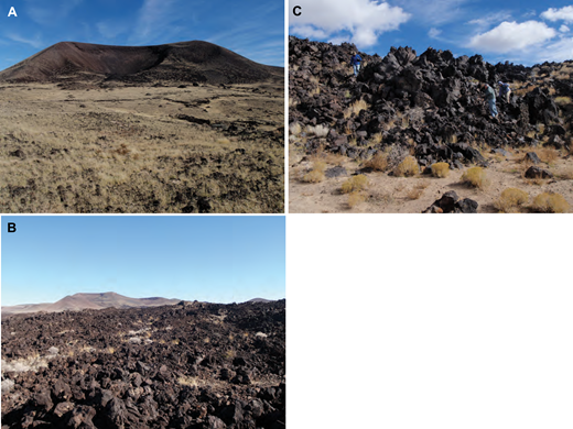 Marcath lava features. (A) Relatively flat surface of lava upland, with the Marcath cone in background. The surface is covered with scoria lapilli and bombs. Eolian sediments trapped between pyroclasts support grass. (B) Rubbly 'a'ā surface of southern lobe (grasses and bushes in photo are 10–30 cm tall). The Marcath cone is on skyline. (C) Example flow front. Base of flow is covered by eolian sand ramps. Note people for scale.