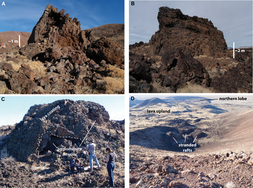 Agglomerate rafts on Marcath lavas. (A) Tilted raft of bedded lapilli and bombs with variable degrees of welding, occurring in proximal portion of channel that fed lava to the southern lobe. Walls of Marcath crater are in background. (B) Large, crudely bedded and partly welded agglomerate raft, within a few hundred meters of the distal end of the southern flow lobe. (C) Example of a partially lava-coated raft, with loose agglomerate interior. (D) View into crater from rim of the Marcath cone, showing rafts stranded just before exiting the crater.
