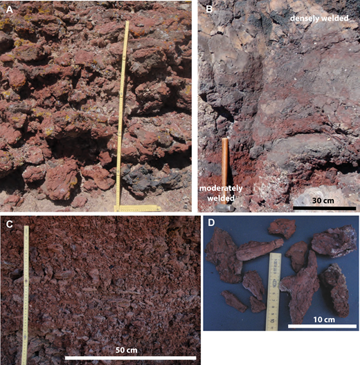 Proximal deposits of cones and ramparts. (A) Slightly welded (sintered) agglomerate consisting of fluidal bombs. Most are flattened parallel to bedding surface and many have ropy surface textures (Easy Chair volcano). Vertical stick is 1 m. (B) Transition from moderately welded (base of photo) to densely welded and lava-like (top) proximal agglomerate. Agglomerate rampart exposed in Lunar Crater maar wall (see Figs. 18C, 18D). Hammer is ∼40 cm long. (C) Lapilli and small bomb bed, sintered. Horizontal fabric imparted by flat bombs and ribbon fragments. Measuring scale 50 cm. (D) Fluidal shapes of small bombs in same deposit as (C). Both C and D are from agglomerate rampart at Easy Chair.