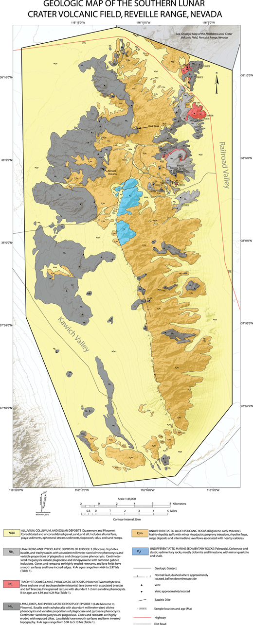 Geologic map of Reveille Range emphasizing Lunar Crater volcanic field basaltic rocks. The Reveille Range includes products of episodes 1 and 2. Map is based upon our own work plus information from Naumann et al. (1991) and Martin and Naumann (1995). See Figure 5 for Geologic Map of Northern Lunar Crater Volcanic Field, Pancake Range, Nevada. For the full-sized version of Figure 4, please visit http://dx.doi.org/10.1130/GES01428.S2 or the full-text article on www.gsapubs.org.
