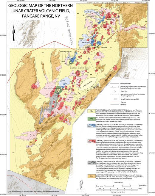 Geologic map of the Pancake Range emphasizing Lunar Crater volcanic field basaltic rocks. The Pancake Range includes products of episodes 2–4. Map is based upon our own work plus information from Snyder et al. (1972), Ekren et al. (1972), and Dickson (1997). For the full-sized version of Figure 5, please visit http://dx.doi.org/10.1130/GES01428.S3 or the full-text article on www.gsapubs.org.