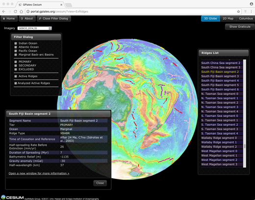 Screenshot of an example from our extinct ridges database hosted in the GPlates Portal (see footnote 1). Extinct ridges are colored according to their assigned ranking, as described in Figure 1, and compiled data can be accessed on the Web site by clicking a feature or choosing it from the index. Each digitized extinct ridge segment has its spreading characteristics and physical properties summarized in the floating window shown. Further information on the individual ridge systems are available by clicking the link within the summary table, which opens to a new page containing maps and profiles across the segments and a summary of key works undertaken at each ridge.