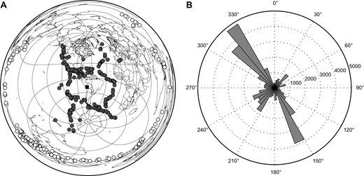 (A) Global map centered on our study region (black square) showing the location of events used in this study. Dark gray circles mark events used for direct P arrivals while open circles mark events used for PKIKP arrivals. (B) Plot showing the azimuthal distribution for all rays used in the study. Ray distribution is strongly controlled by the location of plate boundaries where the earthquakes are generated. Each circle (labeled 1000–5000) represents 1000 rays.
