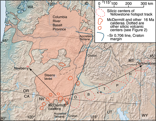 McDermitt caldera in relation to Yellowstone hotspot track and Columbia River Basalt Province. Lines with arrows show generalized trends of Yellowstone and Newberry tracks. S—Santa Rosa–Calico volcanic field (Brueseke and Hart, 2008). Silicic volcanic centers of the Yellowstone track: O—Owyhee-Humboldt; B—Bruneau-Jarbidge; T—Twin Falls, P—Picabo; H—Heise. From Pierce and Morgan (1992, 2009); Christiansen et al. (2002); Ellis et al. (2012); Camp et al. (2013); Reidel et al. (2013); Streck et al. (2015). K+ is location of Kimberly drillhole (Knott et al., 2016). CA—California; ID—Idaho; MT—Montana; NV—Nevada; OR—Oregon; UT—Utah; WA—Washington; WY—Wyoming.