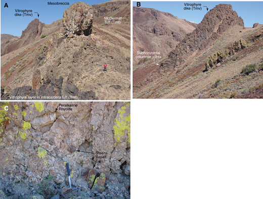 (A) Vitrophyre pyroclastic dike (Tmv, Moonlight Mine section) cuts steeply through rheomorphic intracaldera McDermitt Tuff and through left side of mesobreccia knob, dark area just below box, which shows location of C. Mesobreccia knob is ∼6 m high. (B) Vitrophyre pyroclastic dike with subhorizontal columnar joints. Same as dike in A. Height from columnar joints to top of outcrop is ∼ 45 m high.(C) Mesobreccia (location shown in A) containing angular to subrounded clasts of peralkaline rhyolite, Steens Basalt, and other pre-McDermitt Tuff rock types.