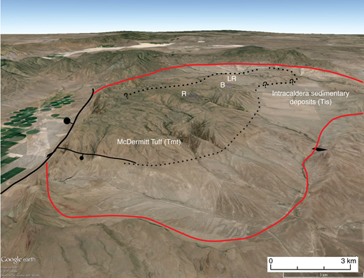 Looking north across resurgent dome (dotted line is approximate boundary) marked by uplifted intracaldera McDermitt Tuff (Google Earth image with 3× vertical exaggeration). Caldera is approximately 40 km north to south. Intracaldera sedimentary deposits (Tis) underlie most of low area between dome and caldera wall (red line). R (Round Mountain) and B (Black Mountain) are vent areas (Tiv) for postcaldera icelandites, whose underlying intrusions may have driven resurgence (see Fig. 16). LR is Long Ridge.