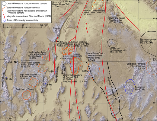 Shaded relief digital elevation model of the McDermitt caldera region showing known and proposed early Yellowstone hotspot calderas and other silicic volcanic centers (Noble et al., 1970; Rytuba and McKee, 1984; Castor and Henry, 2000; Manley and McIntosh, 2002; Bonnichsen et al., 2008; Brueseke and Hart, 2008; Brueseke et al., 2008, 2014; Wypych et al., 2011; Hausback et al., 2012; Henry et al., 2012a; Coble and Mahood, 2012, 2016; Streck et al., 2015; Benson and Mahood, 2015, 2016; Benson et al., 2017; Mahood and Benson, 2017), the northern Nevada rift and related magnetic anomalies (John et al., 2000; Glen and Ponce, 2002), and areas of Eocene magmatism (Axelrod, 1966; Castor et al., 2003; Colgan et al., 2006a, 2011; Lerch et al., 2008). Our interpretation of calderas in the High Rock–Virgin Valley area shown here (Castor and Henry, 2000; Hausback et al., 2012) differs from that of Coble and Mahood (2016). CA—California; ID—Idaho; NV—Nevada; OR—Oregon.