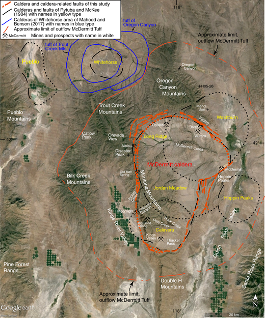 Google Earth image of McDermitt caldera showing caldera and faults interpreted in this study, approximate limit of outflow McDermitt Tuff (Tmt; from Rytuba and Curtis, 1983; Rytuba et al., 1983a, 1983b; Minor, 1986; Minor et al., 1989a, 1989b; and this study), and proposed calderas of Rytuba and McKee (1984) and Mahood and Benson (2017).