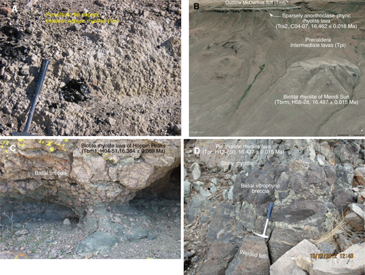 (A) Pumice-obsidian fall deposit (Tar), Double H Mountains south of caldera. Nonwelded to welded fall deposits consisting of poorly sorted pumice (to 12 cm) and obsidian blocks (to 15 cm) are commonly interbedded with flows. (B) Google Earth view southwest across 1.1 km diameter lava dome of biotite rhyolite of Mendi Suri (white mountain in Basque, Tbrm) 5 km northeast of the McDermitt caldera. Ridge at top is Flattop, which is capped by outflow McDermitt Tuff (Tmt). (C) Basal breccia of rhyolite lava of Hoppin Peaks (Tbrh1). View is 1 m high. (D) Peralkaline rhyolite lava (Tpr, southeastern caldera wall) consisting of basal vitrophyric breccia and main stony rhyolite. Rhyolite overlies welded fall deposit. Hammer in this and subsequent figures is 42 cm long.
