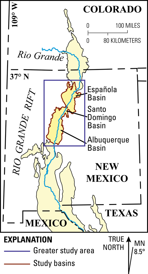 Map showing the geographic location of the Rio Grande rift and the Española Basin and rift-flanking study area, southwestern United States. MN—magnetic north.