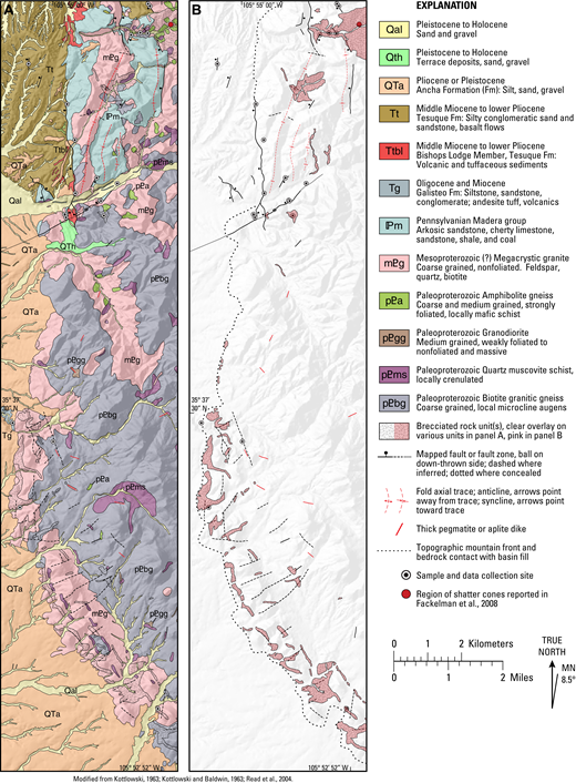 (A) Geologic map of the western front of the Santa Fe Mountains compiled from new and existing 1:24,000-scale mapping by Kottlowski (1963), Kottlowski and Baldwin (1963), and Read et al. (2004). (B) Geologic structure map subset from A showing brittle faults, breccia bodies, folds, bedrock contact with basin-fill sediments, and sample and data collection sites. In both A and B, 30 m digital elevation model hillshade base map for topographic reference. MN—magnetic north.