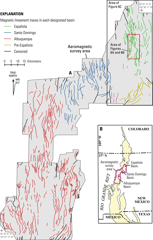 (A) Interpreted fault magnetic lineament map of the central Rio Grande rift from Grauch and Hudson (2007). (B) Location map showing aeromagnetic survey area within the greater Rio Grande rift. MN—magnetic north.