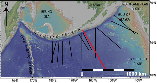Location of the Aleutian Trench flexural profile (red line). Black lines are profiles from Levitt and Sandwell (1995).