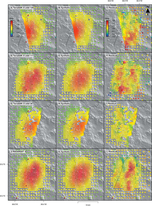 Elastic half-space inversion results using InSAR data sets from A.D. 2014–2016 for sill opening, Lazufre volcanic center, Central Andes. Sill geometry and opening patches are the same as in Pearse and Lundgren (2013) (Table 4). Opening results in a volume estimate of 6.8 ± 1.25 × 106 m3/yr. Uncertainty is estimated from a Monte Carlo test in which the inversion is run 100 times with randomly generated noise (see main text for details). Curving black line is international border between Chile and Argentina. Red triangles are active Holocene volcanoes. All colors in first and middle sections are with respect to scale in section A.