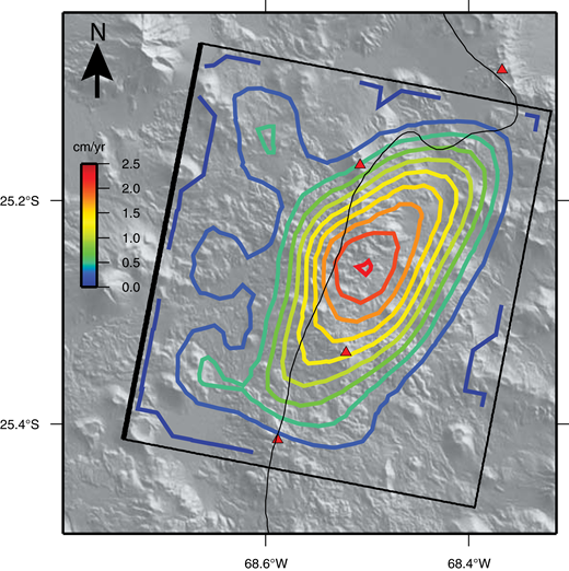 Contours of opening (every 2.5 mm/yr) for distributed opening sill model in an elastic half-space using data between 2014 and 2016, Lazufre volcanic center, Central Andes. Model parameters are given in Table 4. Black outline shows the extent of the sill with distributed opening patches. Compare with InSAR data in Figure 6. Curving black line is international border between Chile and Argentina. Red triangles are active Holocene volcanoes.