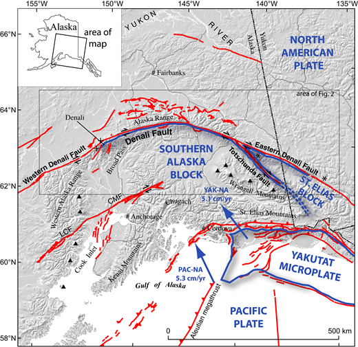 Active faults and plate tectonic configuration of southern Alaska (modified from Haeussler, 2008). Active faults are shown in red, tectonic plate boundaries are shown in blue with labels in blue, and active volcanoes are black triangles. YAK-NA—Yakutat–North America; PAC-NA—Pacific–North America; CMF—Castle Mountain fault; LCF—Lake Clark fault. Asterisks show locations of Early(?) Cretaceous piercing points interpreted by Lowey (1998). Plus symbols show the 38 Ma offset pluton piercing point locations interpreted by Reed and Lanphere (1974).