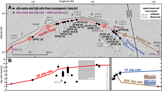 (A) Overview map of the Denali fault system in Alaska and sites for constraining slip rate in this study. Western and central Denali fault are shown with a red line; 2002 earthquake epicenter is shown with a star and the surface rupture (Haeussler, 2009) is shown inset with thin white line. Eastern Denali fault is shown with a brown line and the Totschunda fault is shown with a blue line. Site names with circle symbol in black are those with well-constrained cosmogenic exposure ages and offsets; site names with a circle symbol in purple are those with an inferred age (see text for details). The number in parentheses after the site name is the calculated slip rate (in mm/yr). Gray bars with numbers 1–6 show fault segments as discussed in the text and in Tables 1 and 2. The arithmetic and Monte Carlo simulation means are shown for each segment. (B) Slip rate versus position along the Denali fault system. Slip rates are graphed directly below their position on the map in A. Error bars are within the width of the dots (±0.5 mm/yr), if they cannot be seen. Other geodetic constraints are also shown. Gray dot labeled GPS-F (global positioning system) is slip rate from Freymueller et al. (2008) along central Denali fault. Light gray box labeled InSAR (interferometric synthetic aperture radar) is the slip rate inferred using InSAR data for a region along the central Denali fault from Biggs et al. (2007). Mean value is shown with dark gray line. Light brown box and light blue box labeled GPS-M are the inferred slip rates for a region along the eastern Denali fault and the Totschunda fault, respectively, from Marechal et al. (2015). Mean values are shown with dark gray lines in boxes. DF—Denali fault; EDF—eastern Denali fault; TF—Totschunda fault; SGF—Susitna Glacier thrust fault. Red line shows our inferred Denali fault slip rate curve, which generally follows the higher values. Blue line shows the inferred Totschunda fault slip rate curve, and brown line shows the eastern Denali fault slip rate curve.
