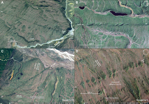 Google Earth images of the eastern Denali fault trace near Kluane Lake, Yukon, Canada. The scale on all images is somewhat variable due to oblique views. (A) The fault (shown between the white arrows) has a unique expression as a linear string of topographic mounds, which are en echelon pushups or folds, giving it a string of pearls appearance. The mounds are better drained, allowing black spruce trees to grow taller on top of them. The fault trace can be seen to be at a low angle (∼10°) to broad glacial mullions. (B) Close up of ellipsoidal en echelon mounds. Mound axes, shown with transparent white lines, are at a low angle to the main Denali fault trace, shown between white arrows. Gaps between mounds channelize surface water. (C) View of eastern Denali fault where it cuts across the fabric of glacial mullions. When viewed on a regional scale, these glacial mullions gradually bend toward the downslope direction showing the ice flow direction. (D) View of mounds offset at site DFKL. Line points to location of field-measured offset used in slip rate calculation.